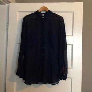 American Apparel sheer navy shirt